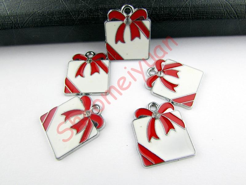 ECM02 Mix Color 20Pcs Alloy Metal Enamel Christmas Gift Box Charms Pendants 24x21mm
