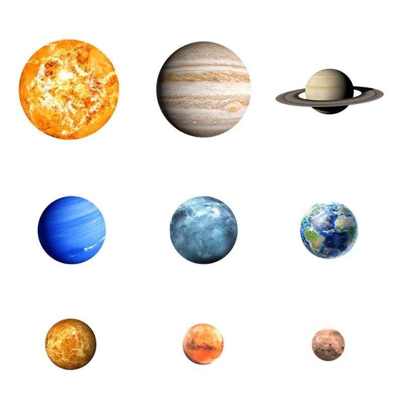 9pcs/pack Waterproof Noctilucent Planets Star Wall Sticker Waterproof Kids Glow in the Dark Room Decor Decal