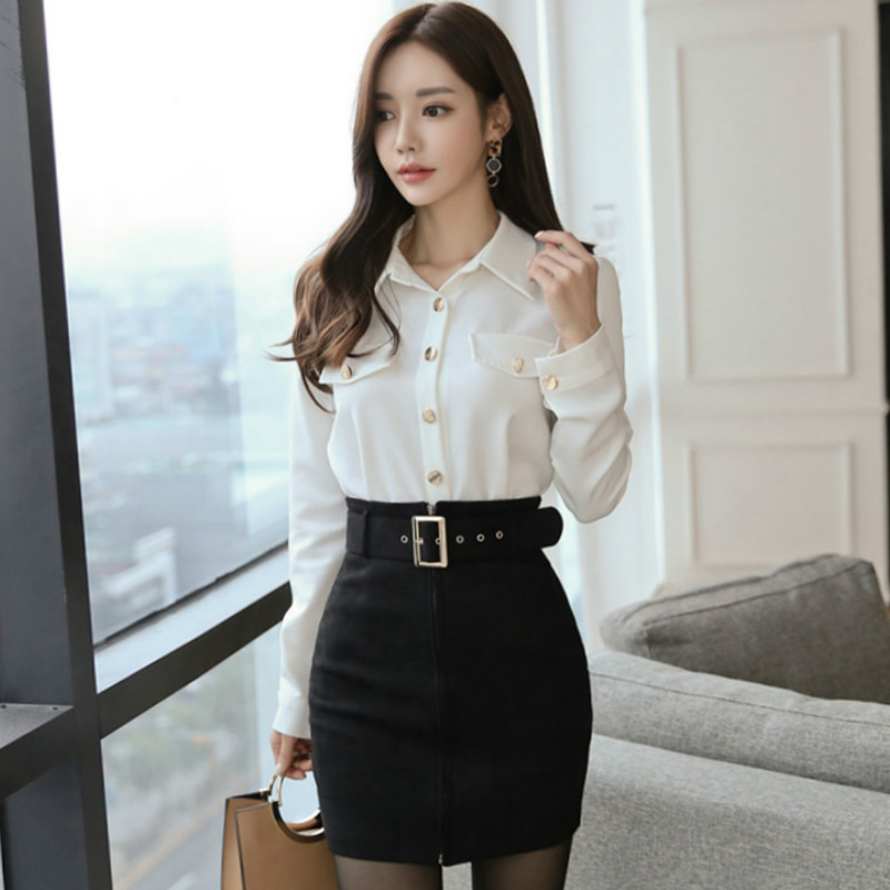 White and Black Office Skirt with Leather Belts