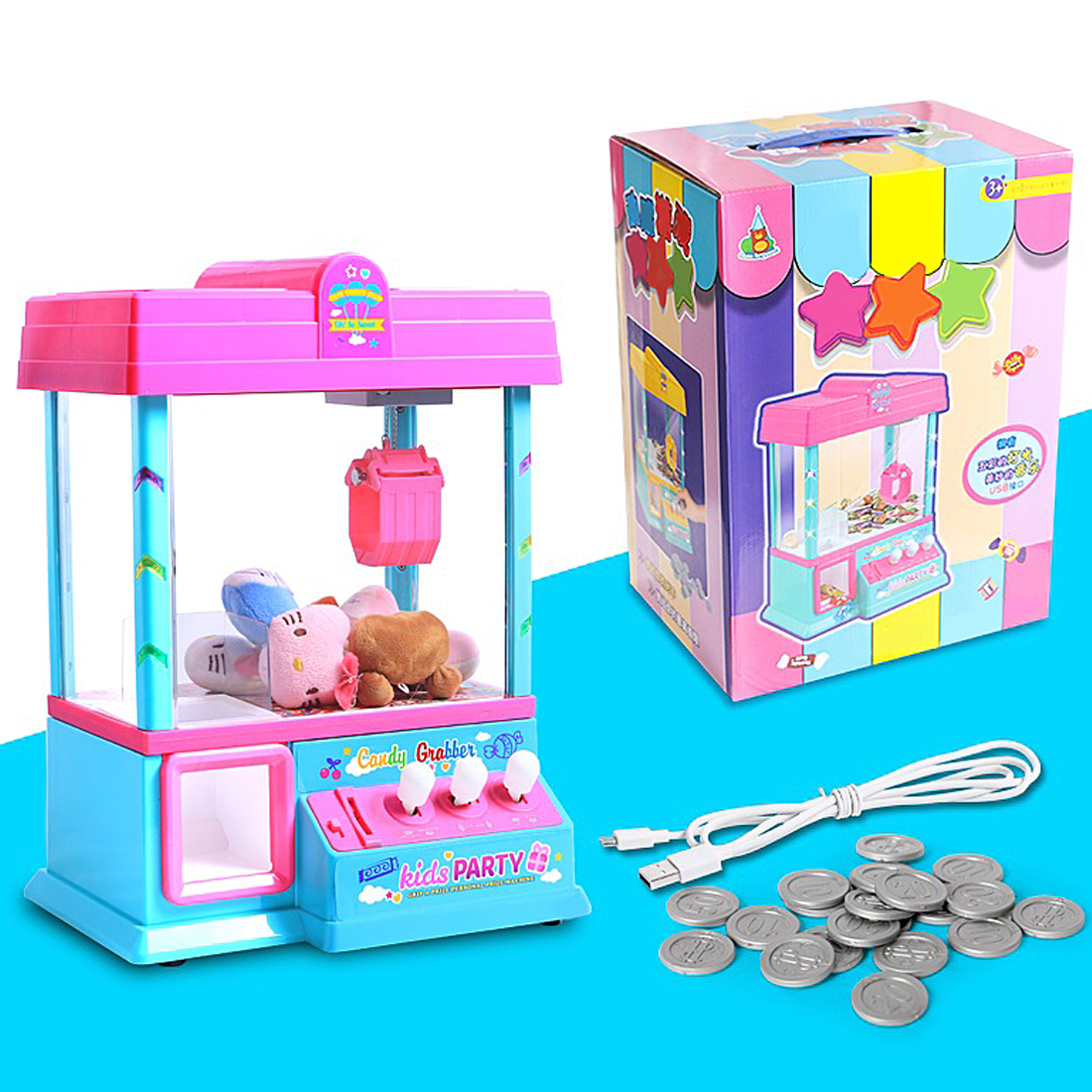 Big Size Coin Operated High Simulation USB Mini Slot Machine Electronic Claw Toy Machine with Music Light Party Toys high quality coin operated slot machine for toys vending cabinet capsule vending machine big bulk toy vendor arcade machine