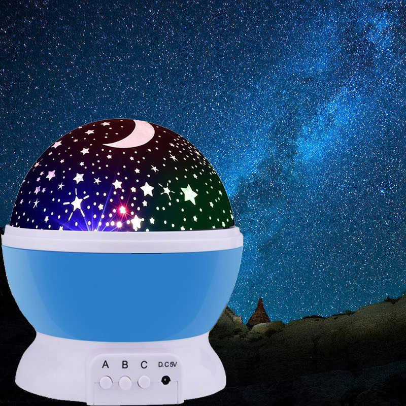 3 Вт ночник светодиодный вращающийся Звездный проектор для детей Детская Новинка освещение Луна Небо вращение на батарейках аварийная лампа