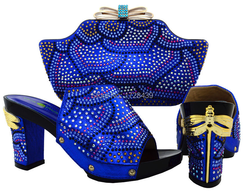 African Women Bags And Shoes For Wedding Heels Rhinestones Good Quality Latest Italian Shoes With Matching Bags, EMF715-8
