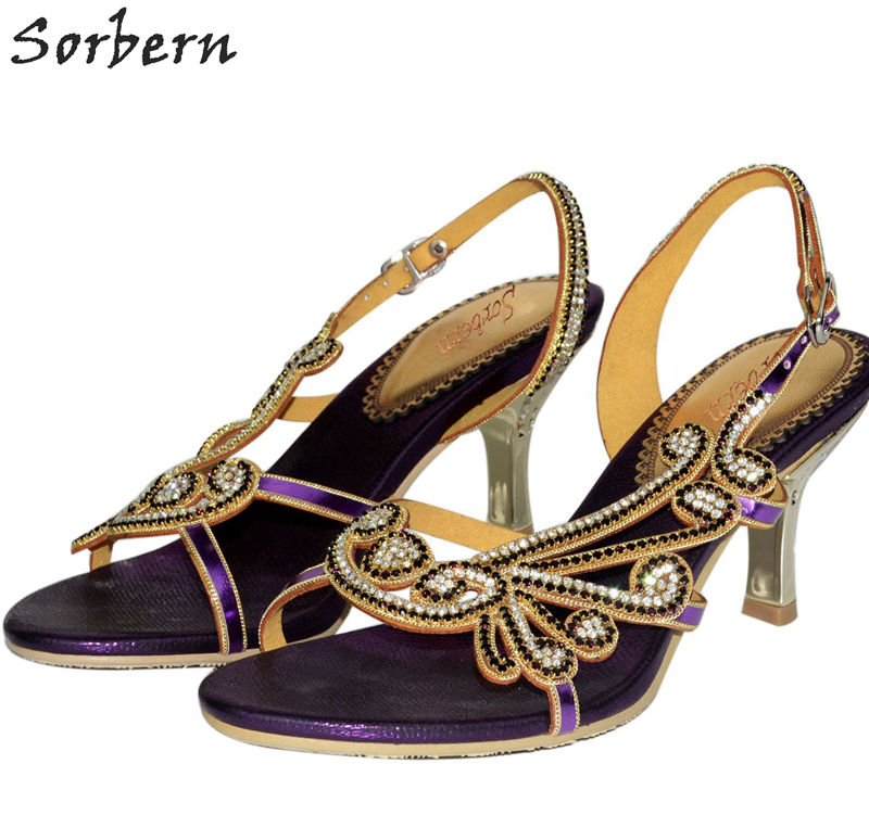 Sorbern Women Crystal Sandals 2018 Bridal Wedding Shoes Real Image Ladies Party Shoes Beading Buckle Strap Zapatos Mujer sorbern white beading ankle strap cute flowers wedding shoes med heels bridal shoes wholesale women shoes party and evening shoe