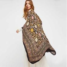 цены на Boho Print Long Kimono Batwing Sleeve Blouse Vintage Women Chiffon Kimono Cardigan Ethnic  Outerwear Beachwear Bikini Cover Up в интернет-магазинах