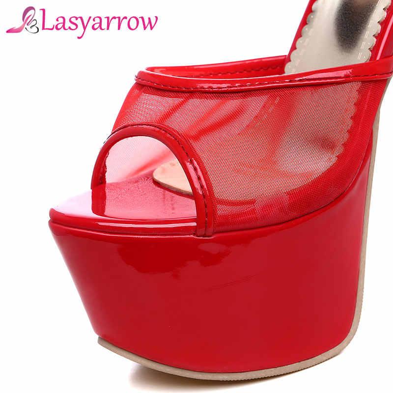 Lasyarrow Kadın Ayakkabı Sandalet Kadın Gladyatör Sandalet Seksi Peep Toe Kadın Örgü Siyah Kırmızı Sandalet Ayakkabı Kadın Sandalias RM448