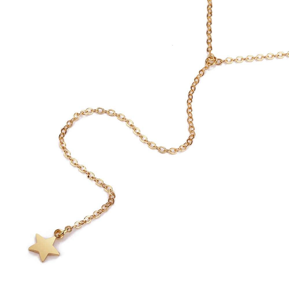 KISSWIFE ผู้หญิงอินเทรนด์สร้อยคอ Multilayer พู่สีทอง Five-Pointed Star จี้ Choker สร้อยคอเครื่องประดับ Bijoux Femm