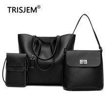 Female Composite Handbags with 3 Different Packages Pu Leather Summer Bag for Women 2019 Black Sac A Main Ladies Shoulder Bags