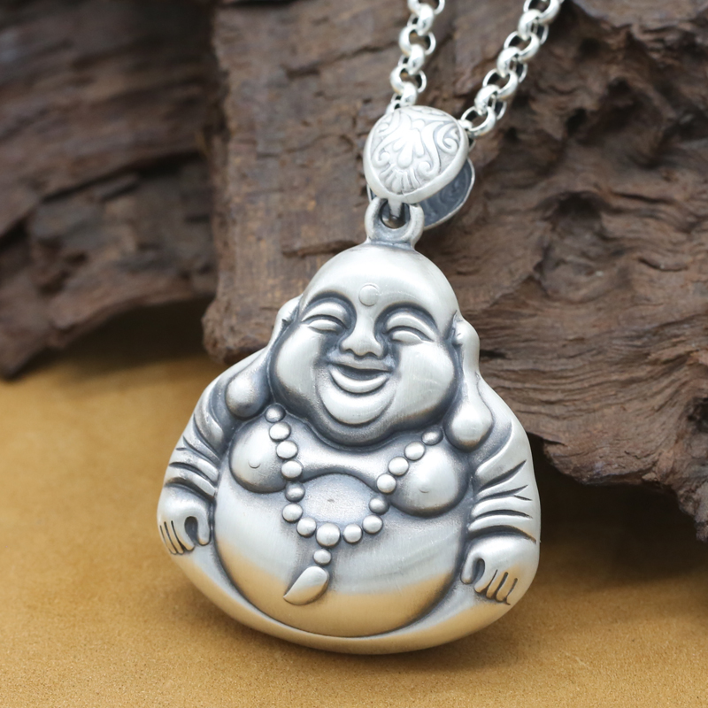 Handmade 999 Silver Laughing Buddha Statue Pendant Real Pure Silver Happy Buddha Amuet Pendant Buddhist Amulet Pendant 8 china silver fine workmanship carved lucky money happy buddha on fish statue d0426