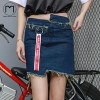 Margin Spring Hight Street StreetwearWomen Denim Skirt pencil Asymmetrical gold Mini saia Jeans skirts short ladies high waist