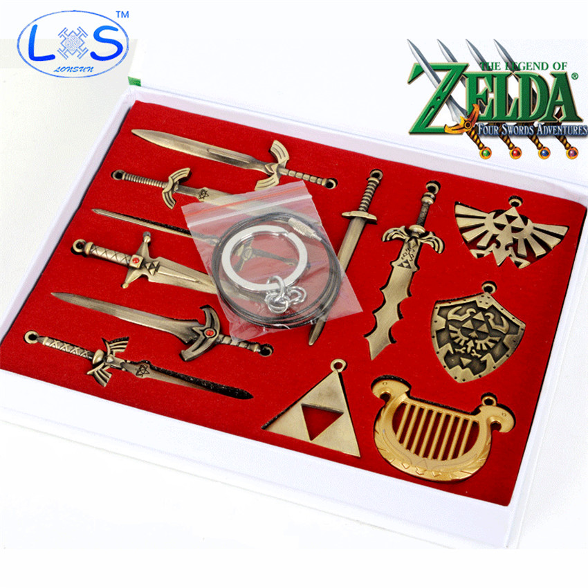 12pcs/set The Legend of Zelda Weapons Link Swords Cosplay Figure Model Toy Keychains Necklace for Xmas Gift swords of glass