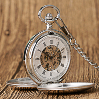 Luxury Smooth Double Hunter Stainless Steel Creative Skeleton Mechanical Hand Wind Pocketwatch Vintage Watches Pendant Unisex