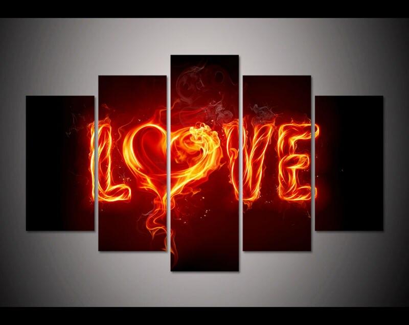 5 панели большой HD Печатный холст картины красный огонь любви Печать холст Современная Домашний Декор стены Книги по искусству фотографии д...