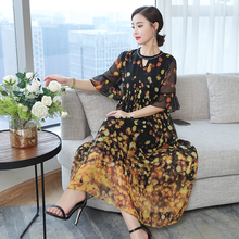 Yellow Flowing Silk Dresses Women Natural 2019 Plus Size Large Quality Polka Dot Wave Point Party Night Summer