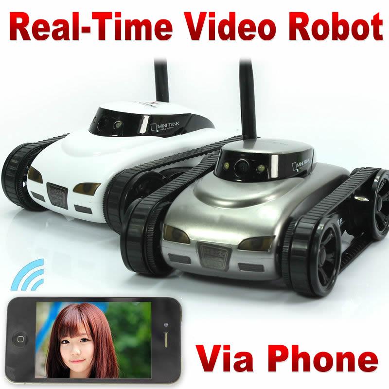 Tangki Rc IPhone iOS WiFi Tank i-Spy RC dengan Kamera Fungsi Video langsung Abu-abu putih wifi iPhone Remote Control RC Mobil mainan FSWB