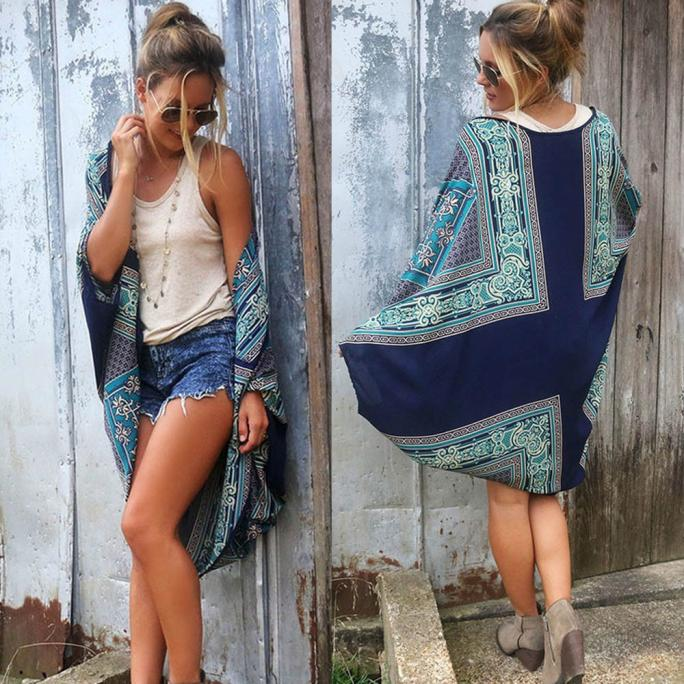 2017 Hot Womens Boho Printed Kimono Cardigan Loose Fashion Shawl Chiffon Coat Jacket Blouse Beach Bikini Cover Sunscreen Cloth