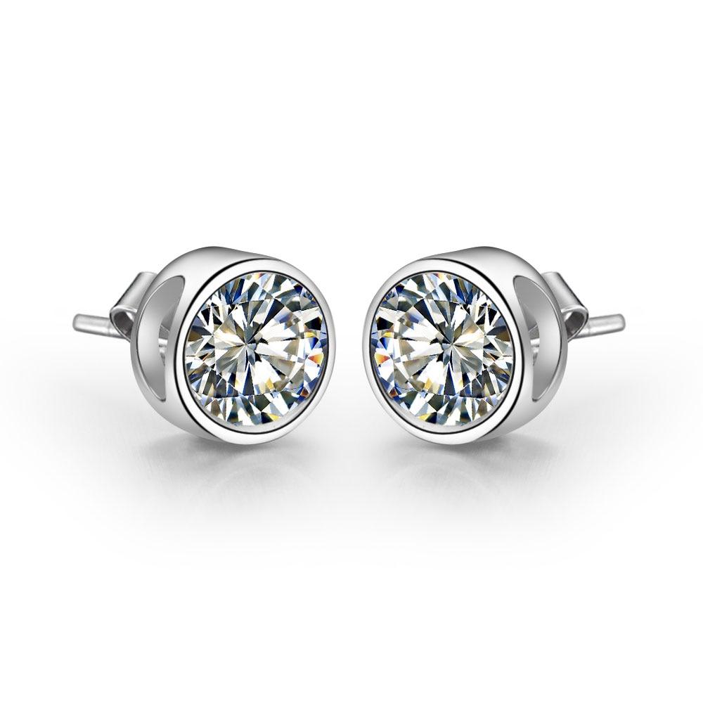 Gold Earrings Diamond Stud White Solid Round 18K Pure-18k Bonzer-Design Simulate Female