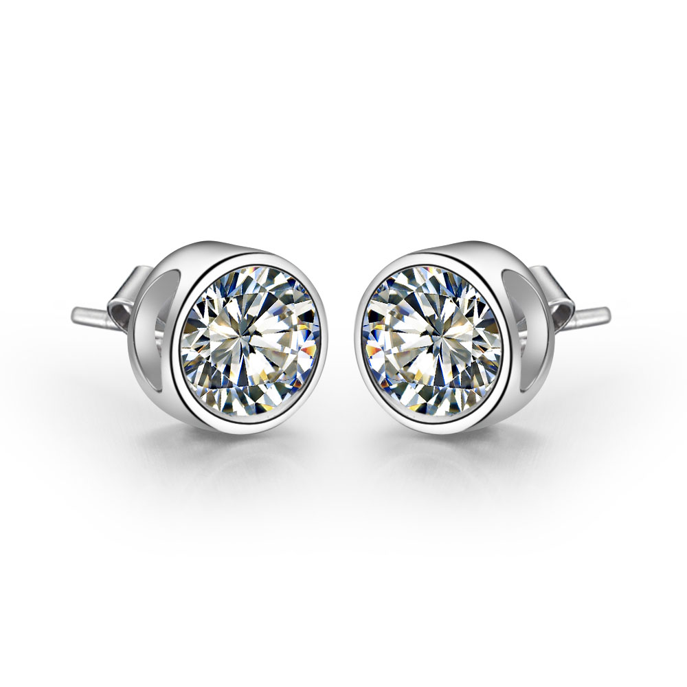Piece Pure 18k White Gold Earrings Round Round Simulate  Diamond Female Solid
