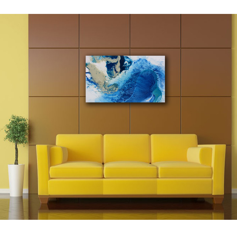 Wall Art Canvas Abstract Oil Painting Blue Sea Water Modern Art ...