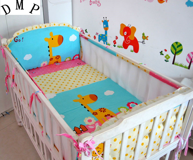 Promotion! 5PCS Cotton Baby Bedding Set baby crib bedding sets for boys cartoon animal crib set Bed Set,include(4bumpers+sheet) promotion 5pcs baby cotton crib bedding set for boys applique bumper bed around 4bumper sheet
