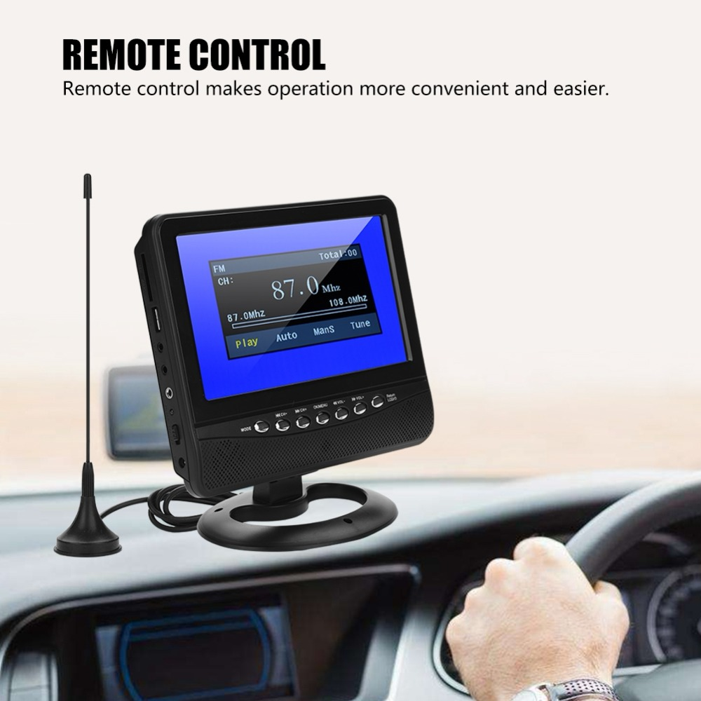 7in LCD Portable Car Analog TV Televisio