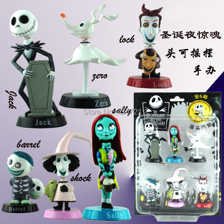 Toys & Hobbies Rational 6pcs The Nightmare Before Christmas Henry Selick Clay Animation Jack Sally Shock Zero Head Knock/bobble Head Figure Toys