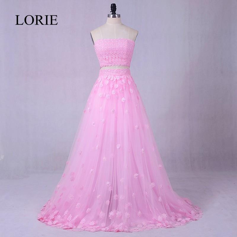 Pink 2 Piece   Prom     Dresses   2018 LORIE Robe de soiree 3D Flowers Appliques Evening Gowns Formal Graduation Long Party   Dress