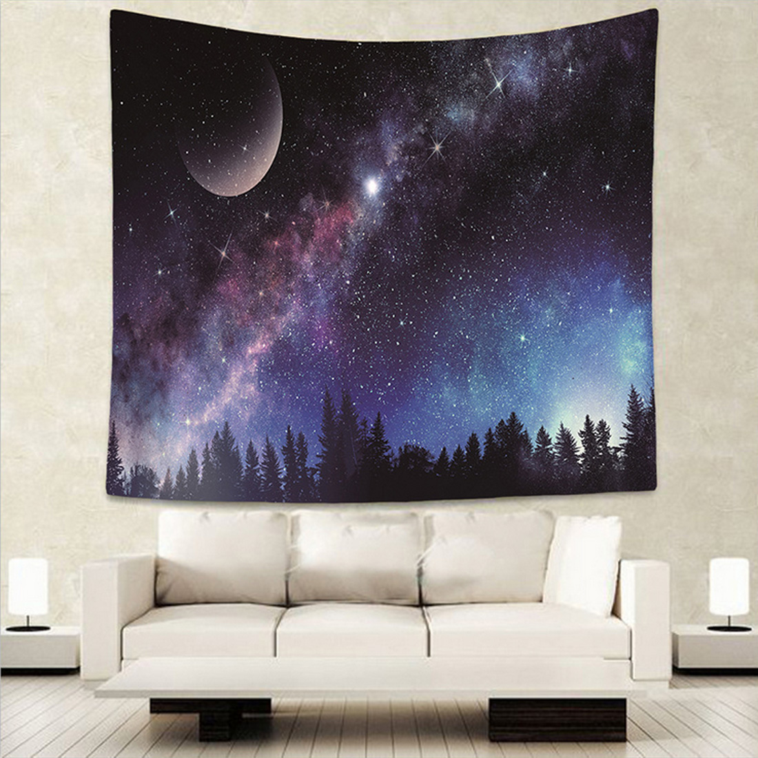 Moon and Sky Tapestry Wall Hanging Tapestry Room Decor Bohemian Bedspread Throw
