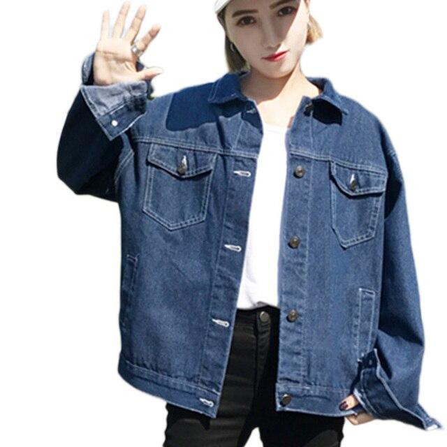 superior quality d9e79 48347 US $21.23 35% di SCONTO|Nuovo Autunno Donna Casual blu scuro Denim Giacche  Vintage Denim Ragazze Outwear Donne Giacca di Jeans Cappotti Allentati ...