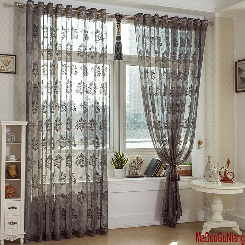 Solid Dark Grey Tulle Curtains For Living Room Embroidered