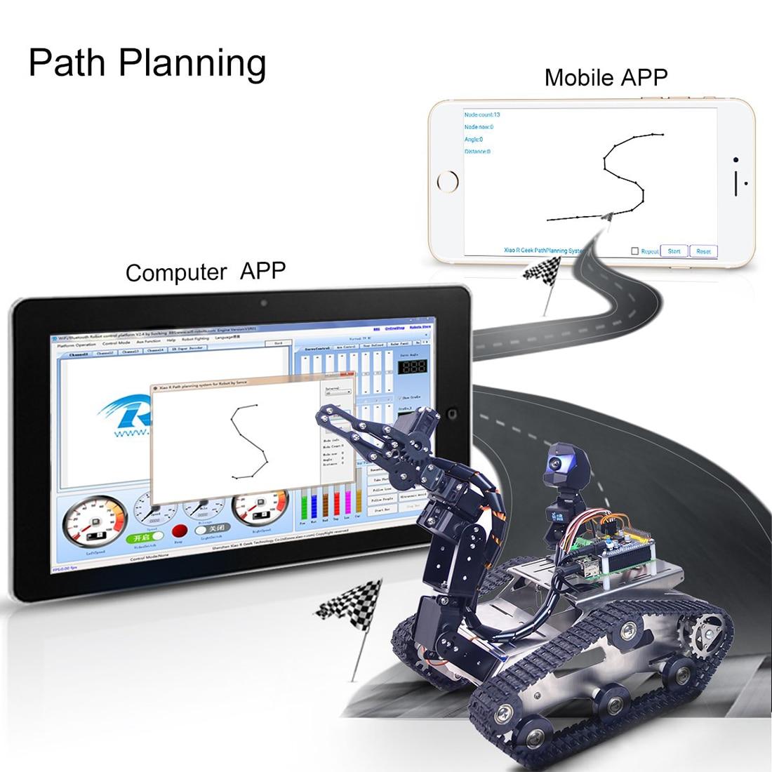 Kit de voiture Robot réservoir FPV WiFi Bluetooth Programmable avec bras pour framboise Pi 3B +-Version Standard grande griffe
