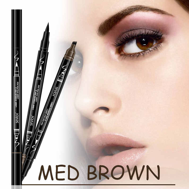Sevich 4 cores 3d sobrancelha caneta duas extremidades esboço fino líquido sobrancelha lápis à prova dwaterproof água tatuagem olho sobrancelha caneta borrão-prova