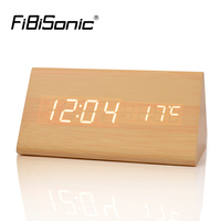 FiBiSonic Wood LED Desk Table Clocks With Thermometer Wooden Alarm Clock For Gift Sounds Control Digital