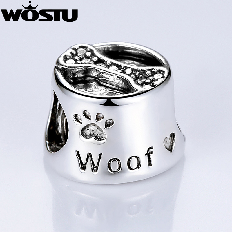 High Quality Silver Woof Paw Prints Bone Charm Beads Fit ...
