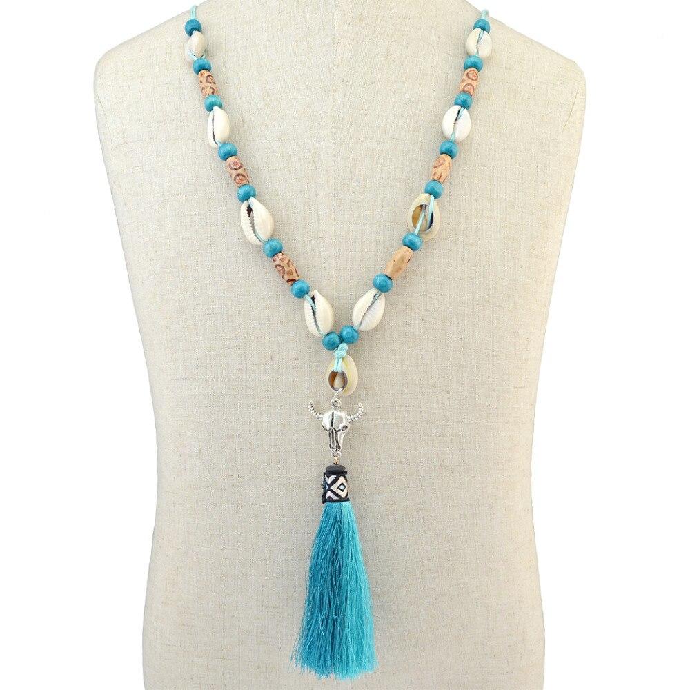 Tassel Necklace Maxi Skull Statement Jewelry Fancy Shell-Design Boho Ethnic Ox Women