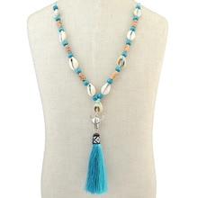 Tassel Necklace Statement Jewelry Ethnic Shell Women for Summer Boho Maxi Skull Fancy