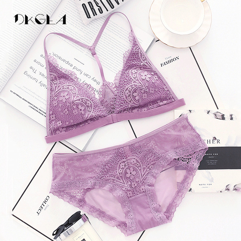 593e5949aa0 Sexy Women Seamless Bra Triangle Cup Brand Transparent Lingerie Set Plus  Size Embroidery Floral Lace Bra Sets Purple Underwear