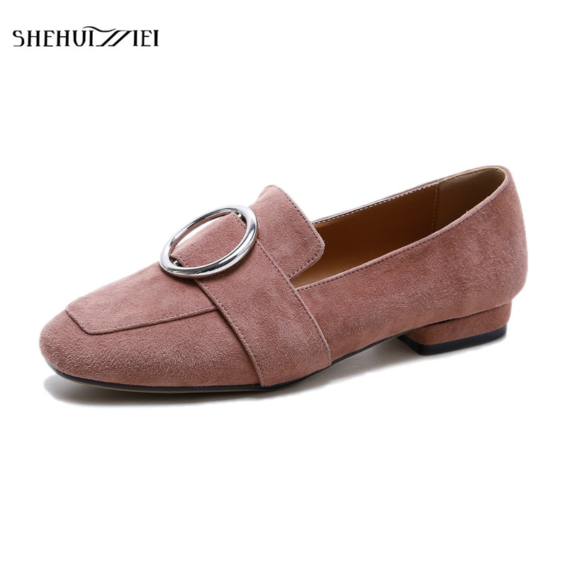 SHEHUIMEI Women Loafers Spring Autumn Genuine Leather Shallow Mouth Flat Shoes Woman Fashion Circle Buckle Solid Casual Flats xiniu flats mother shoes women retro flat heel shallow mouth solid color casual shoes flat shoes genuine leather shoes fashion