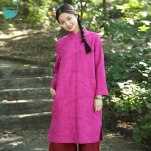 LinenAll dress original design, rose red, 2016 autumn and winter vintage jacquard 100% linen medium-long one-piece dress gown z
