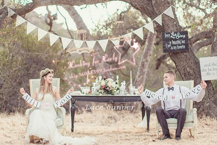 bartek Team Lace Triangle Flag Vintage Wedding Decoration flags Photo Party Festival Wedding Supplier