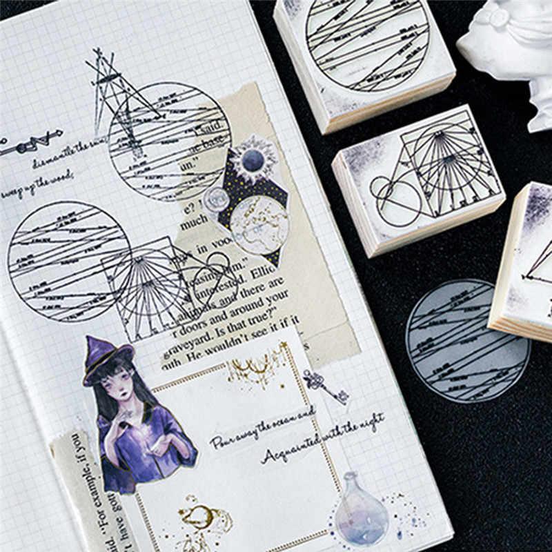 Новинка, хит продаж, DIY фотоальбом, украшение для карт, ремесло, деревянная резиновая игрушечная печать, Геометрическая целестная серия, коробки, деревянный альбом для штампов