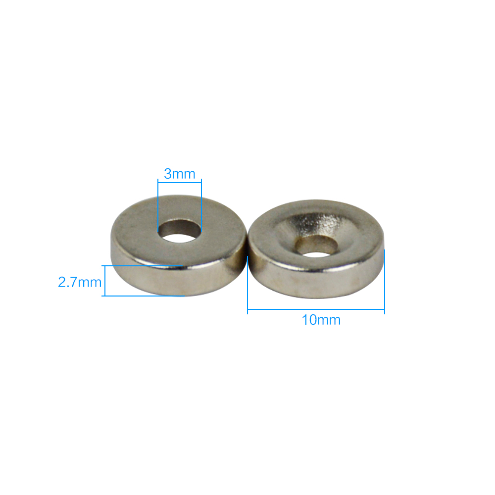 50pcs Strong Ring Magnet D 10X3mm Countersunk Hole:3mm Rare Earth Neodymium N50