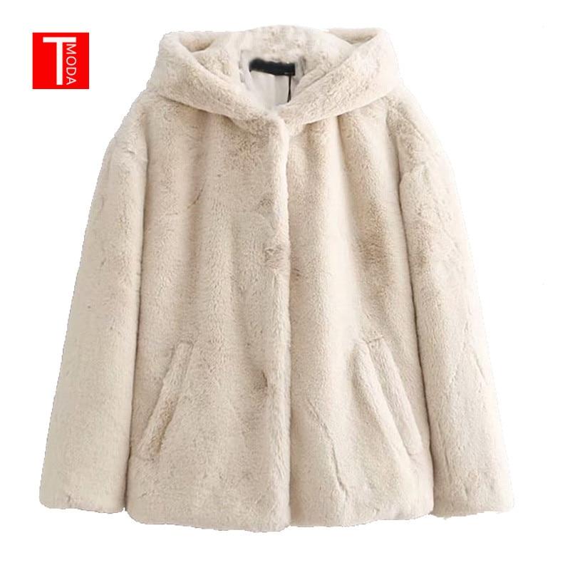 Vintage Winter Warm Hooded Faux Fur Jacket Coat Women 2018 Fashion Long Sleeve Streetwear Loose Outerwear Casual Casaco Femme