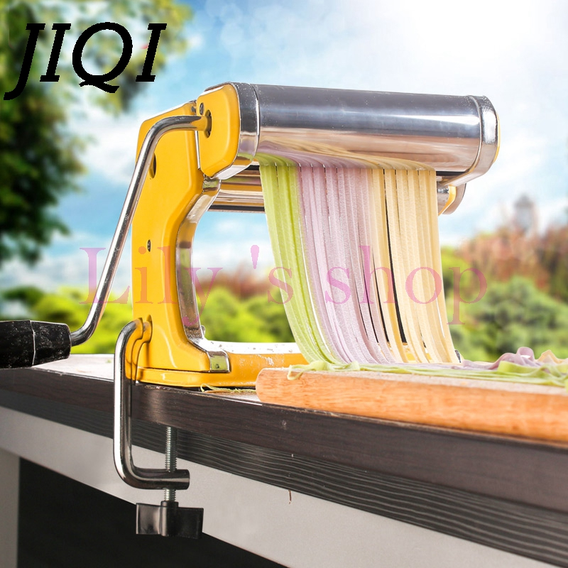 JIQI Household hand noddles pasta maker machine stainless steel manual noodle press making noodle cutting machine 0.5mm-2.5mm high quality household manual hand dumpling maker mini press dough jiaozi momo making machine