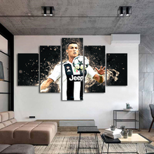 Famous Football Stars Cristiano Ronaldo 5 Pieces Wall Canvas Paintings Sports Posters Art Kids Room Home Decoration