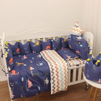 Newborn Baby Nursery Cot Bedding Bumper Set Duvet Cover Pillow Sheet Infant Crib Bedding Set Organizer Crown Shape 140*70 120*60