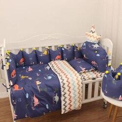Pasgeboren Baby Nursery Cot Beddengoed Bumper Set Dekbedovertrek Kussen Sheet Baby Wieg Beddengoed Set Organizer Crown Vorm 140*70 120*60