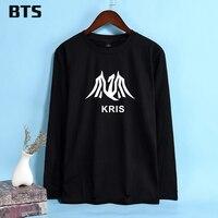 EXO Kris BTS Wu Femme damskie Koszulki Z Długim Rękawem Casual trójniki T Shirt Topy Kobiet O-Neck Harajuku Kobiety T-shirt Dla kobieta