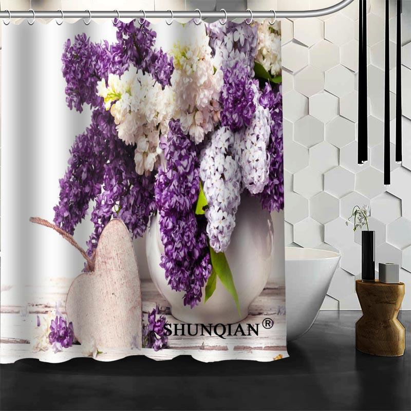 Bathroom Curtains Flower Purple Lilacs Shower Curtain Custom Shower Curtain  Waterproof Polyester Fabric Curtain For Bathroom In Shower Curtains From  Home ...