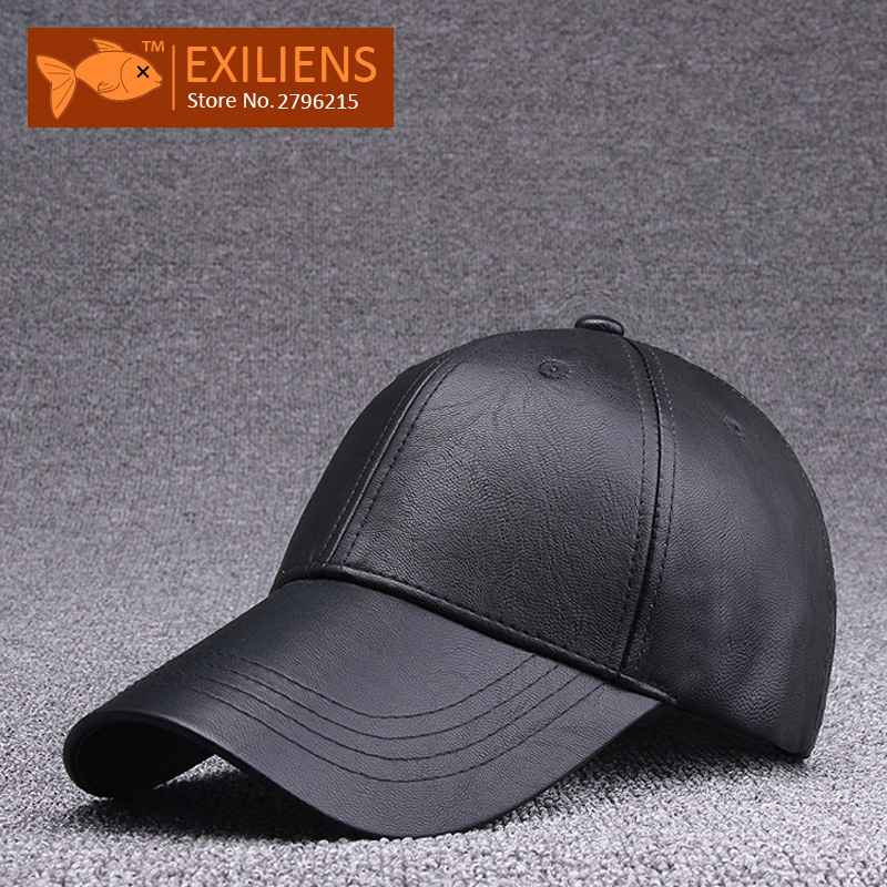 [EXILIENS] 2017 Fashion Brand Baseball Cap Leather PU Solid Hot Snapback Caps Strapback Hip-hop Hats For Men Women Fitted Hat