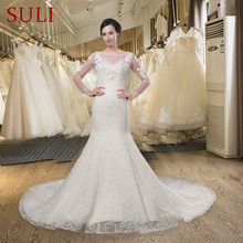 SuLi Q-018 Mermaid Backless Wedding Dress Lace Bridal Gown